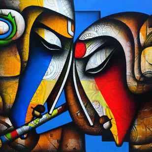 "Bond of Love, Relationship, Charcoal, Acrylic, Red, Blue, Green, Brown By Indian Artist ""In Stock"" by Jagannath Paul, Expressionism Painting, Charcoal on Canvas, Blue color"