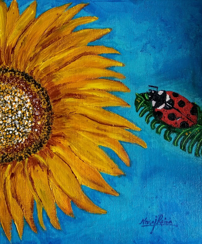 The Ladybird Beetle And Their Sunflower Story-by Neeraj Raina by Neeraj Raina, Expressionism Painting, Acrylic on Canvas, Blue color