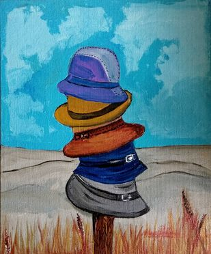 Cascading Hat's-by Neeraj Raina by Neeraj Raina, Expressionism Painting, Acrylic on Canvas, Cyan color