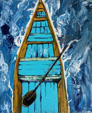 Shikara To Kashmir-by Neeraj Raina by Neeraj Raina, Expressionism Painting, Acrylic on Canvas, Blue color