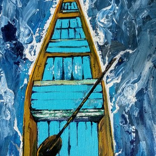 Shikara To Kashmir-by Neeraj Raina by Neeraj Raina, Expressionism Painting, Acrylic on Canvas, Blue color