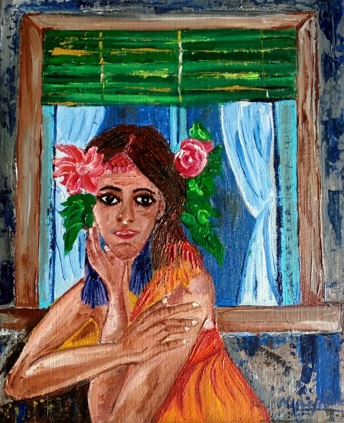 The Lady near the window by Neeraj Raina, Expressionism Painting, Acrylic on Canvas, Brown color