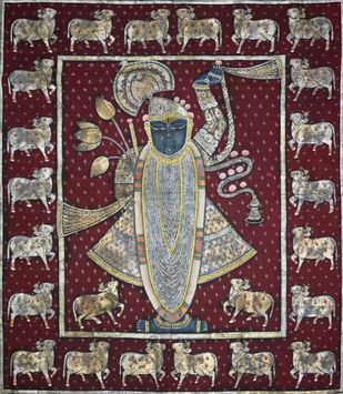 Pichwai Painting by Unknown Artist, Folk Painting, Natural stone colour on cotton, Brown color