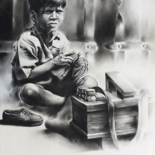 Child Labor 6 by Chinmay Das, Expressionism Drawing, Charcoal on Paper, Gray color