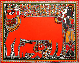 Krishna love in cow by Baua Devi, Folk Painting, Acrylic on Canvas, Brown color