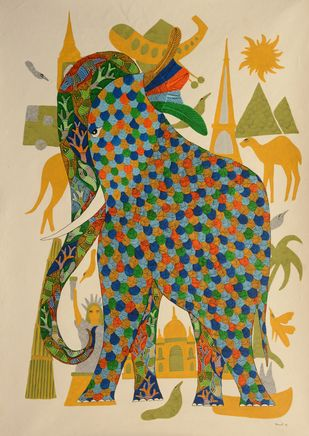 Untitled by Dhawat Singh Uikey, Folk Painting, Acrylic & Ink on Paper, Beige color