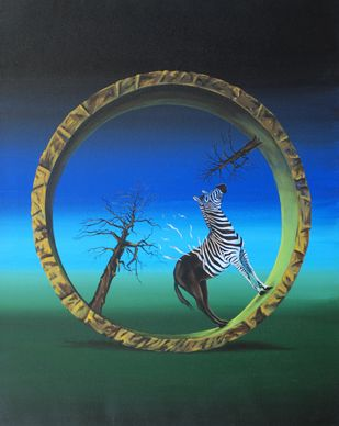 Untitled by Barun Chowdhury, Surrealism Painting, Oil on Canvas, Green color