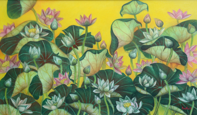 Lotus pond by Bratin Khan, Expressionism Painting, Tempera on Canvas, Green color