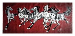7 RUNNING HORSES by PARESH MORE, Expressionism Painting, Acrylic on Canvas, Brown color