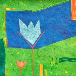 urban pond by Amit Biswas, Geometrical Painting, Tempera on Paper, Green color