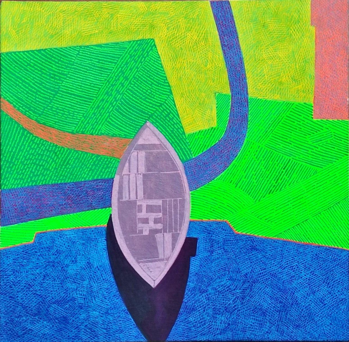 Memories from Bangladesh by Amit Biswas, Geometrical Painting, Tempera on Canvas, Green color
