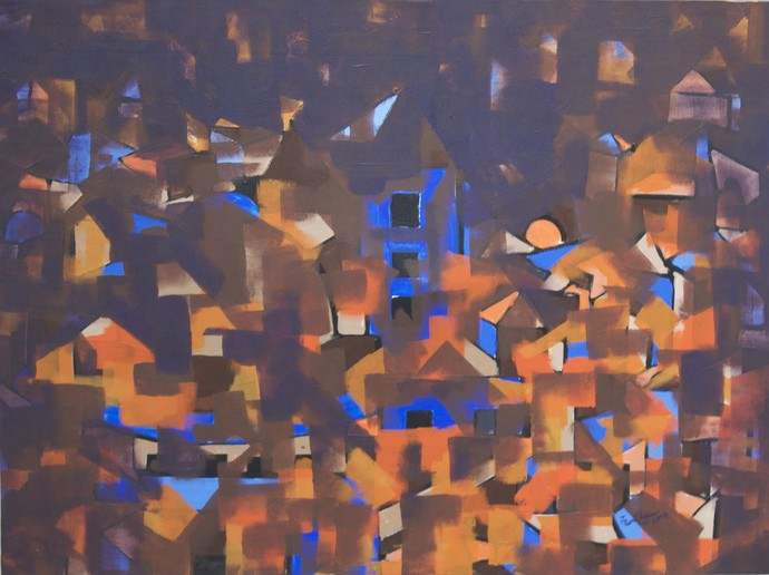 Untitled by Karishma Wadhwa, Abstract Painting, Acrylic on Canvas, Brown color