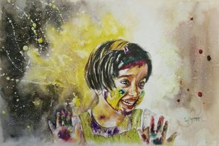 Colours of Joy by Lasya Upadhyaya, Expressionism Painting, Watercolor on Paper, Beige color