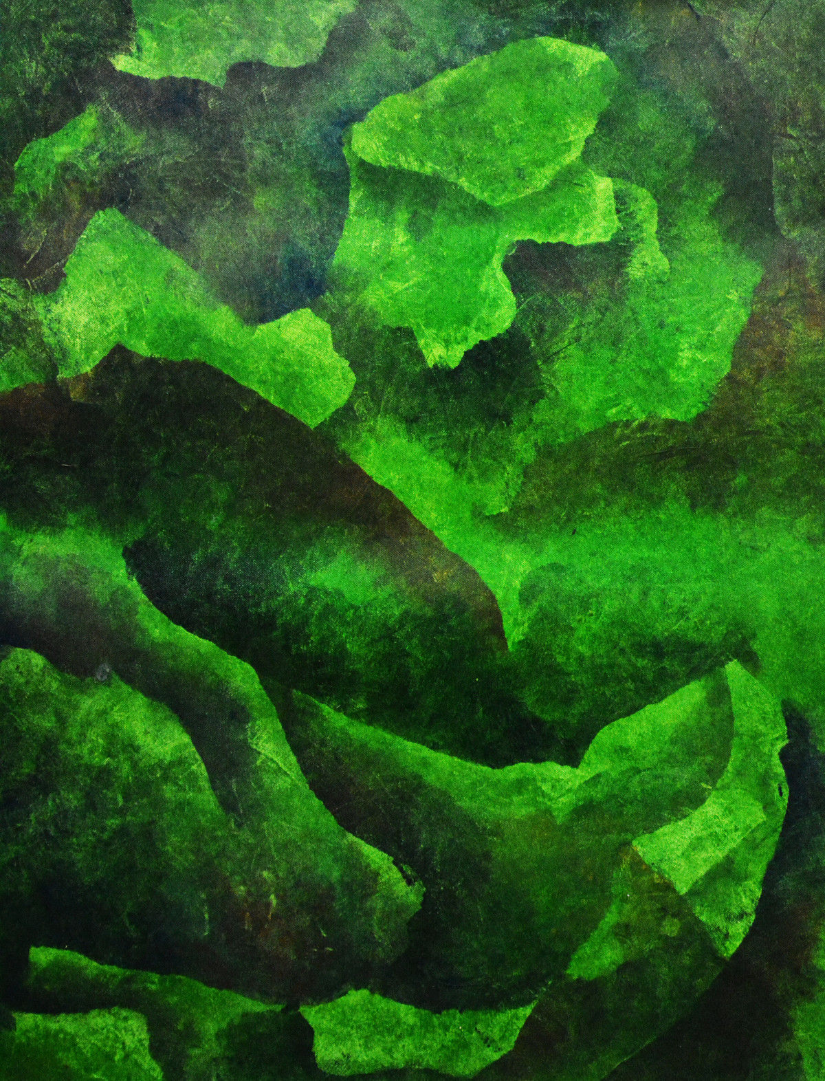VERDIGRIS by Mudit Rastogi, Abstract Painting, Oil on Canvas, Green color