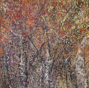 FOREST by Chandana khan, Abstract Painting, Acrylic on Canvas, Brown color