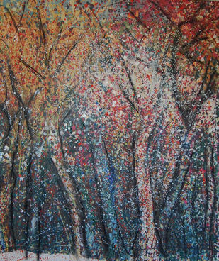 FOREST 2 by Chandana khan, Abstract Painting, Acrylic & Graphite on Canvas, Brown color