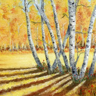 Autumn Sanctum by Neha Bisht , Impressionism Painting, Oil on Canvas Board, Beige color