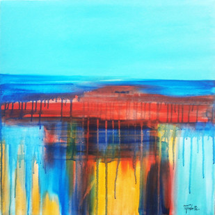 bule by tajinder pal singh, Abstract Painting, Acrylic on Canvas, Cyan color