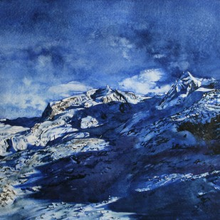 Blue by Uday Bhan, Abstract Painting, Watercolor on Paper, Blue color