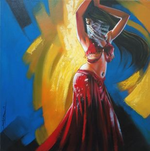 Music of colours by Prasad Kulkarni, Expressionism Painting, Acrylic on Canvas, Blue color