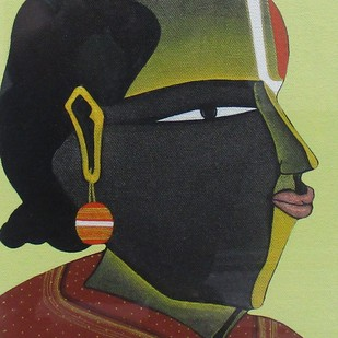 Untitled by Thota Vaikuntam, Expressionism Painting, Acrylic on Canvas, Gray color