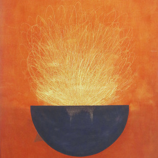 energy by Deepak sahagal, Expressionism Painting, Acrylic on Canvas, Orange color