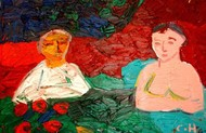 Untitled by Chandana Hore, Expressionism Painting, Oil on Canvas, Red color