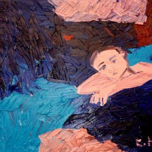Untitled by Chandana Hore, Expressionism Painting, Oil on Canvas, Blue color