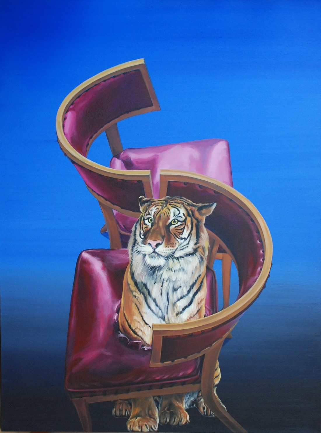 I don't play musical chair by rules by Barun Chowdhury, Conceptual Painting, Acrylic on Canvas, Blue color