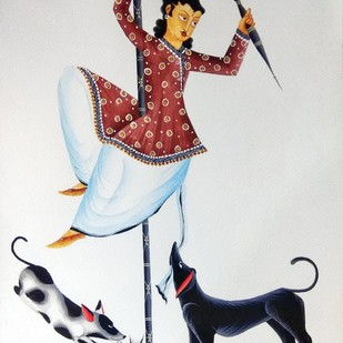 "Babu ""pole-dancing"" by Bhaskar Chitrakar, Folk Painting, Natural colours on paper, Gray color"