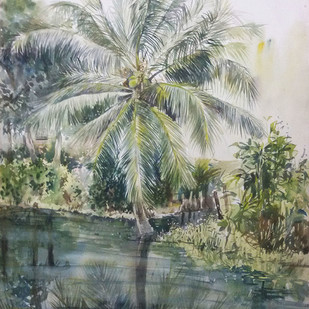 Ghat by sunit bagh, Impressionism Painting, Watercolor on Paper, Gray color