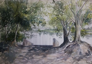escape by sunit bagh, Impressionism Painting, Watercolor on Paper, Gray color