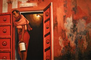Untitled by Sanjay Bhattacharya, Impressionism Painting, Oil on Canvas, Brown color