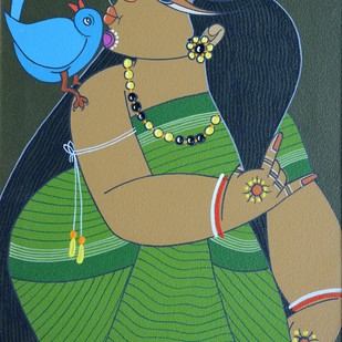 Untitled by Apu Debnath Banga, Traditional Painting, Acrylic on Canvas, Green color