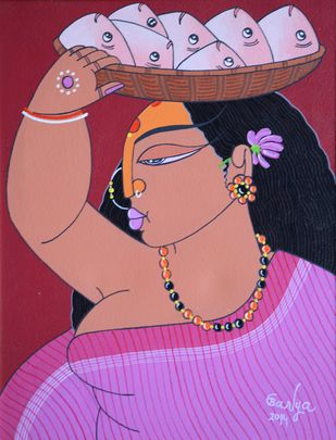Untitled by Apu Debnath Banga, Expressionism Painting, Acrylic on Canvas, Purple color
