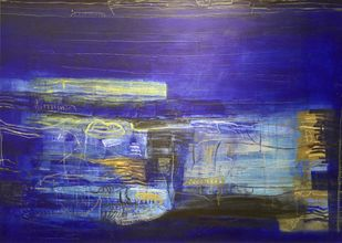 Abstract by Basant Bhargave, Abstract Painting, Acrylic on Canvas, Blue color