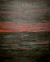 Night sky by Basant Bhargave, Abstract Painting, Acrylic on Canvas, Brown color