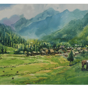 Himalayan Hues by Roney Devassia, Impressionism Painting, Watercolor on Paper, Green color