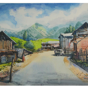 Himalayan Light by Roney Devassia, Impressionism Painting, Watercolor on Paper, Gray color