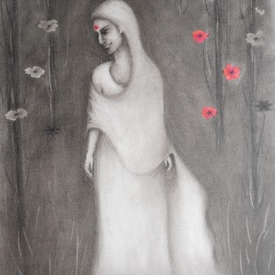 Deep in Thought by Kajal Nalwa, Expressionism Painting, Watercolor and charcoal on paper, Gray color