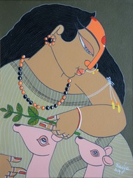 Untitled by Apu Debnath Banga, Traditional Painting, Acrylic on Canvas, Beige color