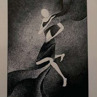 Dancing with flow by Reena Tomar, Illustration Drawing, Pen & Ink on Canvas, Gray color