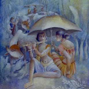 COMPOSITION I by Prodyut Kumar Pal, Impressionism Painting, Acrylic on Canvas, Blue color