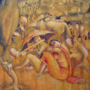 COMPOSITION II by Prodyut Kumar Pal, Traditional Painting, Acrylic on Canvas, Brown color