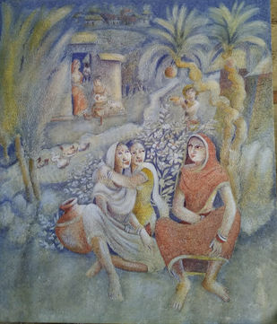 UNTITLED IV by Prodyut Kumar Pal, Impressionism Painting, Acrylic on Canvas, Gray color