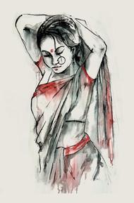 INDIAN LADY -1 Digital Print by MADURAI GANESH,Illustration