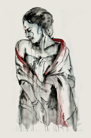 INDIAN LADY -3 by MADURAI GANESH, Illustration Painting, Watercolor and charcoal on paper, Gray color