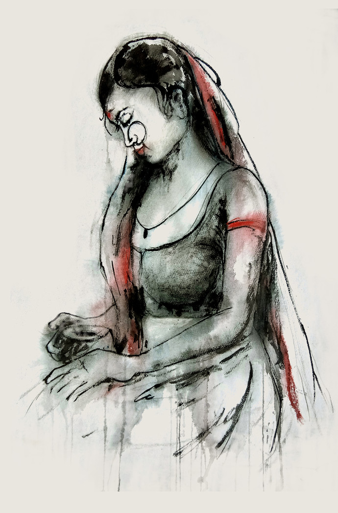 INDIAN LADY -4 by MADURAI GANESH, Illustration Painting, Watercolor and charcoal on paper, Gray color