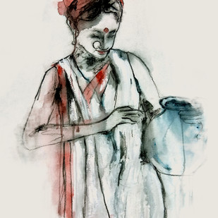 INDIAN LADY - 5 by MADURAI GANESH, Expressionism Painting, Watercolor and charcoal on paper, Gray color
