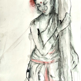 INDIAN LADY - 6 by MADURAI GANESH, Expressionism Painting, Watercolor and charcoal on paper, Beige color